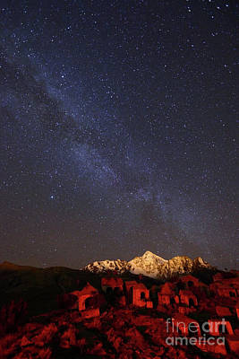 Astro Photograph - Milky Way Above Mt Huayna Potosi And Milluni Cemetery Bolivia by James Brunker