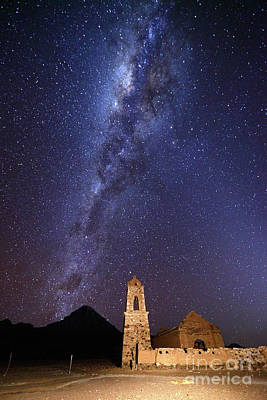 Astro Photograph - Milky Way Above Sajama Volcano And Ruined Church Bolivia by James Brunker