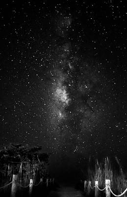 Stars Photograph - Milky Way Access In Black And White by Chrystal Mimbs