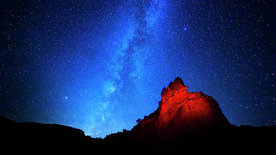 Light Hearted Art Wall Art - Photograph - Milky Way And Caprock by Stephen Stookey