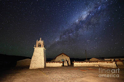 Milky Way And Guallatiri Village Church Chile Art Print by James Brunker