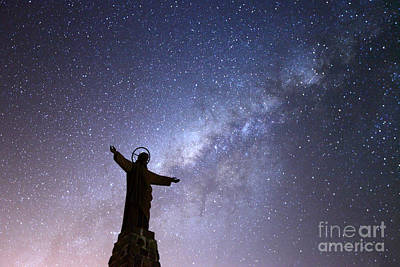 Redeemer Photograph - Milky Way And Jesus Christ Statue by James Brunker