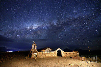 Astro Photograph - Milky Way And Lagunas Church Bolivia by James Brunker