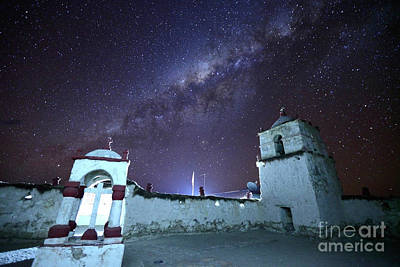 Astro Photograph - Milky Way And Parinacota Village Church Chile by James Brunker