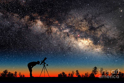 Photograph - Milky Way And Silhouetted Stargazer by Larry Landolfi