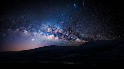 Photograph - Milky Way Galaxy From Earth by Artistic Panda