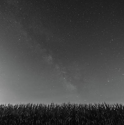 Photograph - Milky Way In Black And White Over Field by Dan Sproul