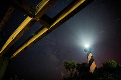 Milky Way Inside Hatteras Light Pavillon Art Print by Daniel Lowe