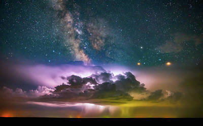 Lightning Photograph - Milky Way Monsoon by Darren White
