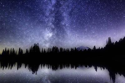 Wa Painting - Milky Way - Mount Rainier by EyeScotch Photography