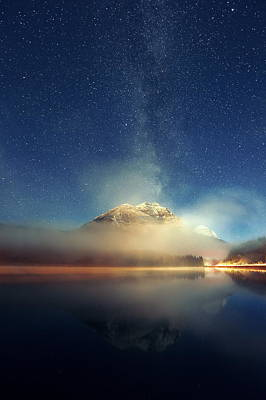Photograph - Milky Way Mountain Lake by Songquan Deng