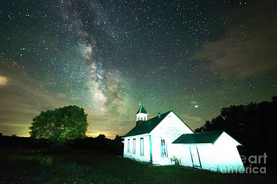 Photograph - Milky Way Over Acorn Schoolhouse by Jean Hutchison