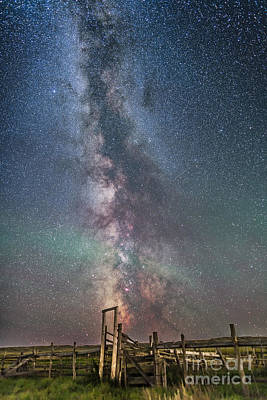 Milky Way Over An Old Ranch Corral Art Print by Alan Dyer