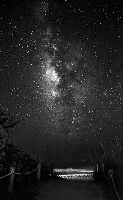 Stars Photograph - Milky Way Over Beach Access In Black And White by Greg Mimbs