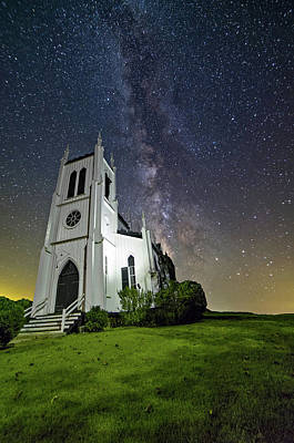 Art Print featuring the photograph Milky Way Over Church by Lori Coleman
