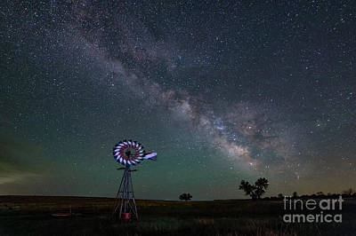 Photograph - Milky Way Over Co Windmill by Tibor Vari