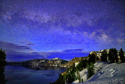 Photograph - Milky Way Over Crater Lake by Coby Cooper