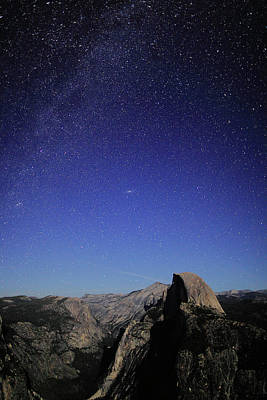 Milky Way Over Half Dome Art Print
