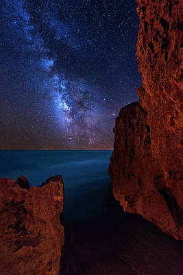 Print featuring the photograph Milky Way Over Huchinson Island Beach Florida by Justin Kelefas