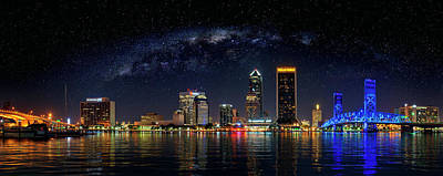 Photograph - Milky Way Over Jacksonville Florida Skyline by Justin Kelefas