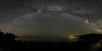 Photograph - Milky Way Over Lake Michigan At Cana Island Lighthouse by Paul Schultz