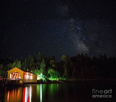 Photograph - Milky Way Over Lowell Covered Bridge by Michael Cross