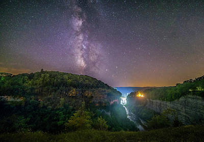 Photograph - Milky Way Over Middle Falls by Mark Papke