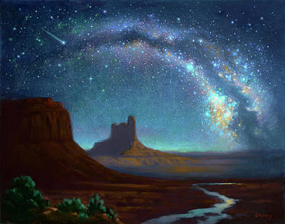 Milky Way Over Monument Valley Art Print