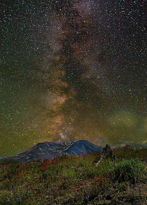 Scenic Photograph - Milky Way Over Mount St Helens by David Gn