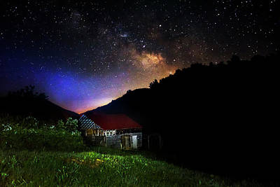 Stars Photograph - Milky Way Over Mountain Barn by Greg Mimbs