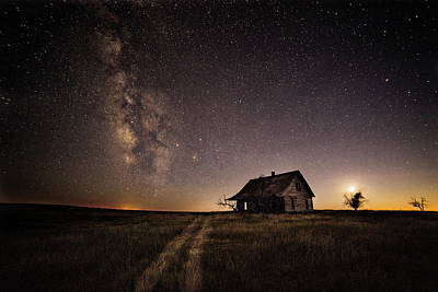 Photograph - Milky Way Over Prairie House by Kristal Kraft