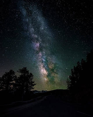 Milky Way Over Rocky Mountains Art Print