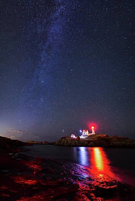 Milky Way Over The Nubble Lighthouse  Art Print by Mircea Costina Photography