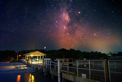 Stars Photograph - Milky Way Over The Sanibel Pier by Greg and Chrystal Mimbs
