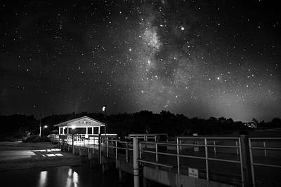 Stars Photograph - Milky Way Over The Sanibel Pier In Black And White by Chrystal Mimbs