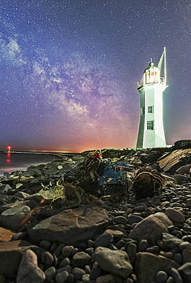 Photograph - Milky Way Rising Over Scituate Lighthouse by Jatinkumar Thakkar