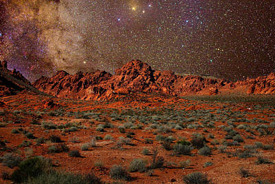 Milky Way Rising Over The Valley Of Fire Art Print by Charles Warren
