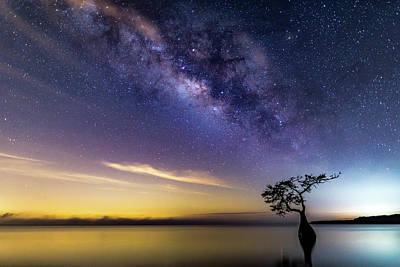 Photograph - Milky Way Splendor Over Blue Cypress Lake In South Florida. by Stefan Mazzola