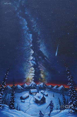 Snowy Night Painting - Milky Way  by Zach Kintner