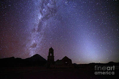 Astro Photograph - Milky Way Zodiacal Light And Ruined Church by James Brunker