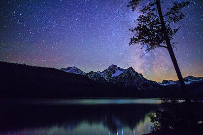 Sawtooth Mountain Art Photograph - Milkyway Over Mount Mc Gowan At Stanley Lake In Idaho by Vishwanath Bhat