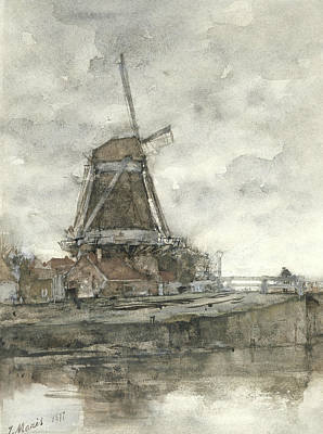 Mill And The Bridge At The North West Buitensingel Hague Art Print by Jacob Maris