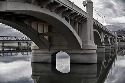 Photograph - Mill Avenue Bridge In Tempe Arizona B And W by Dave Dilli