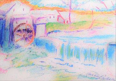 Grist Mill Drawing - Old Grist Mill by Carliss Prosser