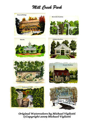 Gazebo Painting - Mill Creek Park Montage by Michael Vigliotti