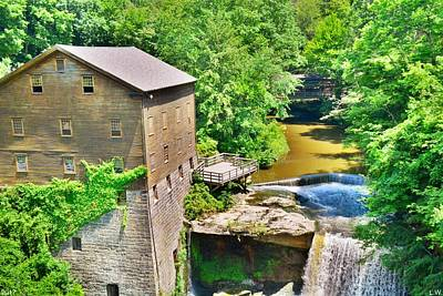 Photograph - Mill Creek Park Lanterman's Mill And Covered Bridge 2 by Lisa Wooten