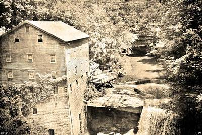 Photograph - Mill Creek Park Lantermans Mill And Covered Bridge Black And White by Lisa Wooten