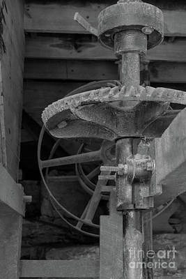 Photograph - Mill Gears Grayscale by Jennifer White