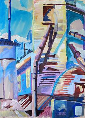 Cerulean Blue Painting - Mill IIi by Charlie Spear