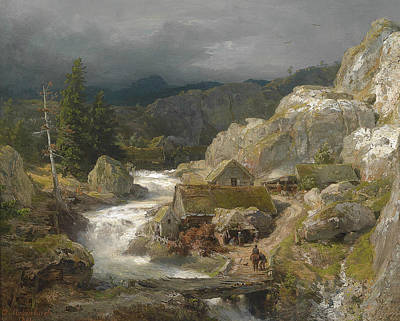 German Art Painting - Mill On The Mountain Stream by Andreas Achenbach